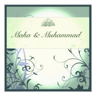 Casamento/noivado ornamentado verdes islâmicos da  convite