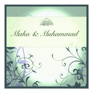 Casamento/noivado ornamentado verdes islâmicos da convite quadrado 13.35 x 13.35cm
