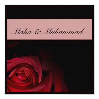 Casamento/noivado pretos islâmicos da rosa convite quadrado 13.35 x 13.35cm