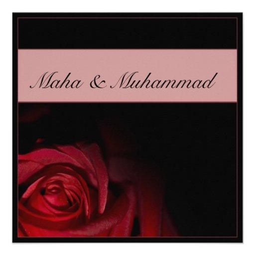 Casamento/noivado pretos islâmicos da rosa vermelh convites personalizados