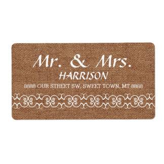 Casamento ornamentado de serapilheira da etiqueta de frete