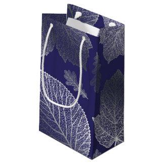 Casamento outono das folhas da prata e do marinho sacola para presentes pequena