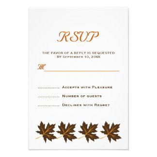Casamento outono marrom RSVP das folhas de bordo e Convite Personalizado