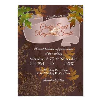 Casamento outono - o ouro sae do convite de