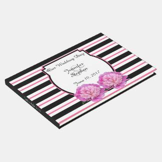 Casamento personalizado da peônia flor cor-de-rosa livro de visitas