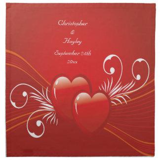 Casamento personalizado do amor corações vermelhos guardanapos