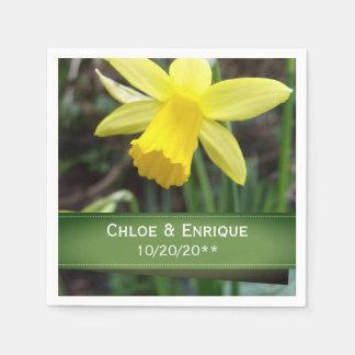 Casamento personalizado do foco Daffodil macio Guardanapo De Papel