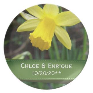 Casamento personalizado do foco Daffodil macio Prato De Festa