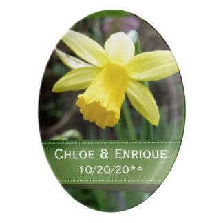Casamento personalizado do foco Daffodil macio Travessa De Porcelana