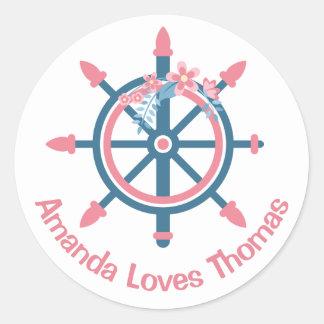 Casamento personalizado do rosa da roda do navio adesivo