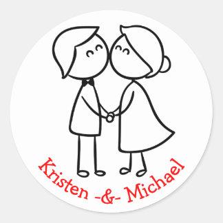 Casamento personalizado dos desenhos animados dos adesivo