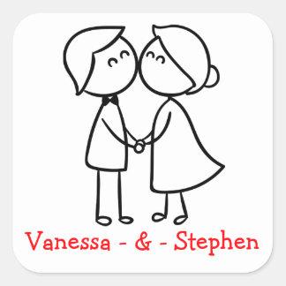 Casamento personalizado dos desenhos animados dos adesivo quadrado