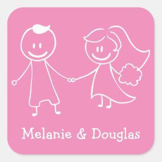 Casamento personalizado rosa da noiva & do noivo adesivo quadrado