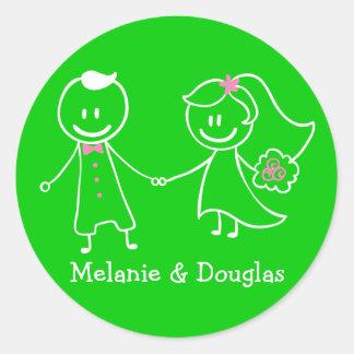 Casamento personalizado verde da noiva & do noivo adesivo