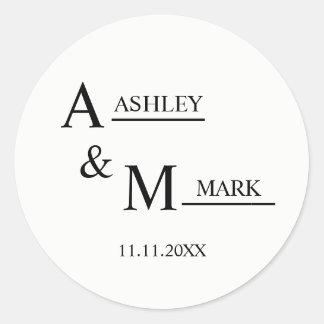 Casamento preto branco elegante da noiva & do adesivo redondo