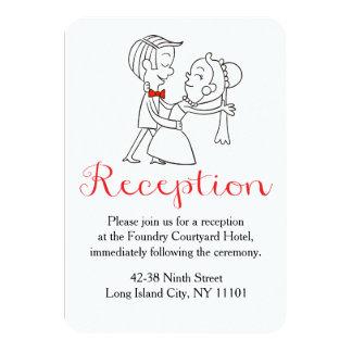 Casamento preto & branco vermelho da noiva & do convite 8.89 x 12.7cm