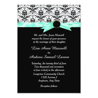 Casamento preto da fita do verde da hortelã do convite 12.7 x 17.78cm