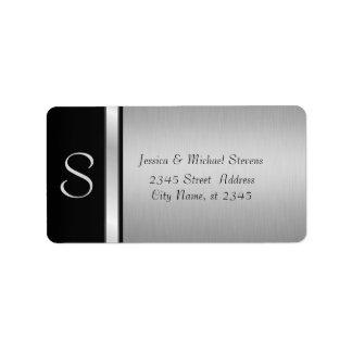 Casamento preto de prata moderno elegante do etiqueta de endereço