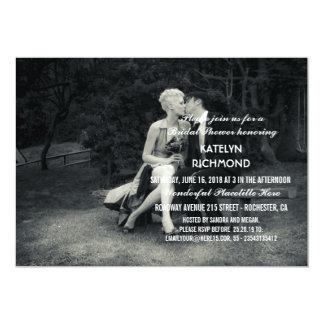Casamento preto e branco da foto pura da elegância convite 12.7 x 17.78cm