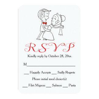 Casamento preto e branco vermelho da noiva & do convite 8.89 x 12.7cm