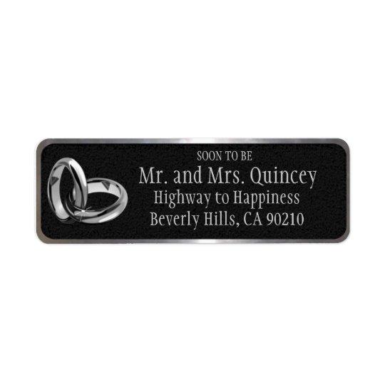 Casamento preto e de prata elegante etiqueta endereço de retorno