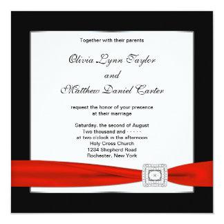 Casamento preto vermelho preto branco vermelho convite quadrado 13.35 x 13.35cm