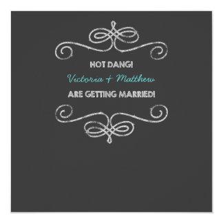 Casamento quente do quadro do vintage de Dang Convite Quadrado 13.35 X 13.35cm