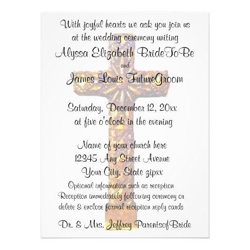 Casamento religioso transversal do ouro convite personalizado