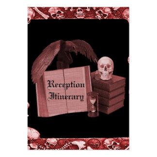 Casamento romance vermelho de Spellbook do crânio Modelos Cartoes De Visitas