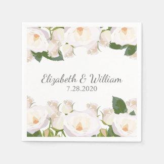 Casamento romântico elegante bonito do rosa branco guardanapo de papel
