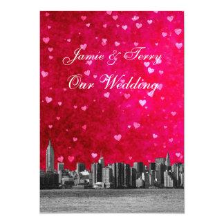 Casamento rosa vermelha quente gravado do coração convite 12.7 x 17.78cm