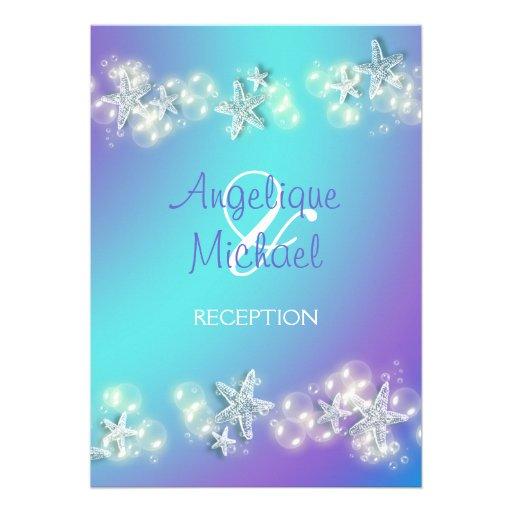 Casamento roxo azul da estrela do mar da praia convite personalizados