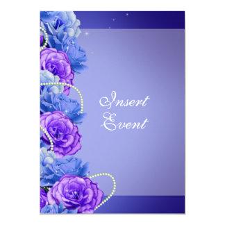 Casamento roxo azul do noivado do aniversário convite 12.7 x 17.78cm