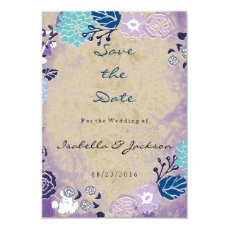 Casamento roxo & azul do vintage do jardim da convite 8.89 x 12.7cm