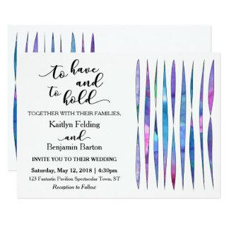 Casamento roxo, cor-de-rosa, azul branco moderno convite 12.7 x 17.78cm