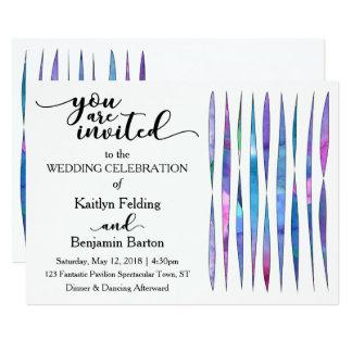Casamento roxo, cor-de-rosa, azul branco original convite 12.7 x 17.78cm