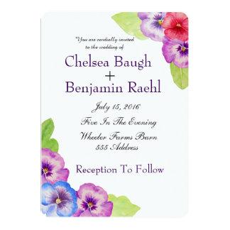 Casamento roxo, cor-de-rosa & azul chique do amor convite 12.7 x 17.78cm