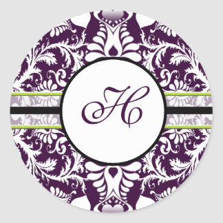 Casamento roxo da letra H da etiqueta da inicial