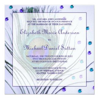 Casamento roxo da pena Glam do pavão Convite Quadrado 13.35 X 13.35cm