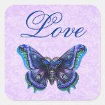 Casamento roxo do amor da borboleta do vintage adesivo quadrado