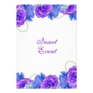 Casamento roxo do aniversário do rosa do azul convites personalizado