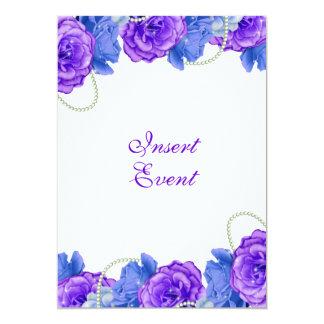 Casamento roxo do aniversário do rosa do azul convite 12.7 x 17.78cm