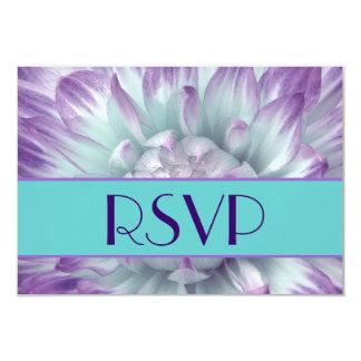 Casamento roxo e azul das pétalas RSVP da dália Convites Personalizado