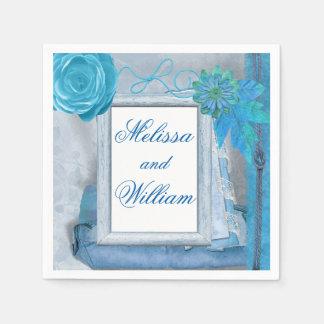 Casamento rústico azul bonito guardanapo de papel