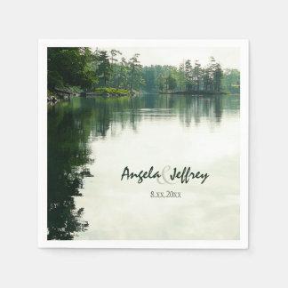 Casamento rústico da reflexão do lago mountain guardanapo de papel