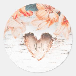 Casamento rústico das flores do coração e da adesivo