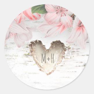 Casamento rústico das flores do coração e do rosa adesivo