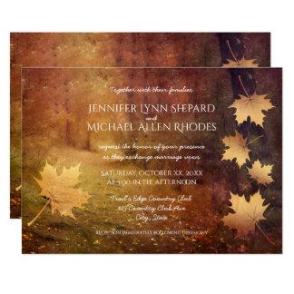 casamento rústico de queda das folhas de bordo da convite 12.7 x 17.78cm