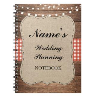 Casamento rústico do caderno que planeia notas