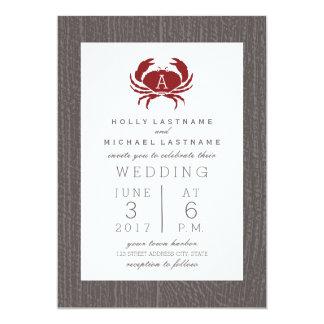 Casamento rústico do caranguejo do monograma convite 12.7 x 17.78cm